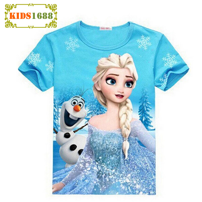 Summer Style Anna Elsa Pattern Girls T-shirt Princess Anna Short-Sleeved Vest Cartoon Girl Clothing Childrens Clothing T-Shirt