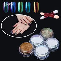 Professional Nail Art Metal Polish Chameleon Powder Color Manicure Mirror Chrome Effect Pigment Powder With Brush