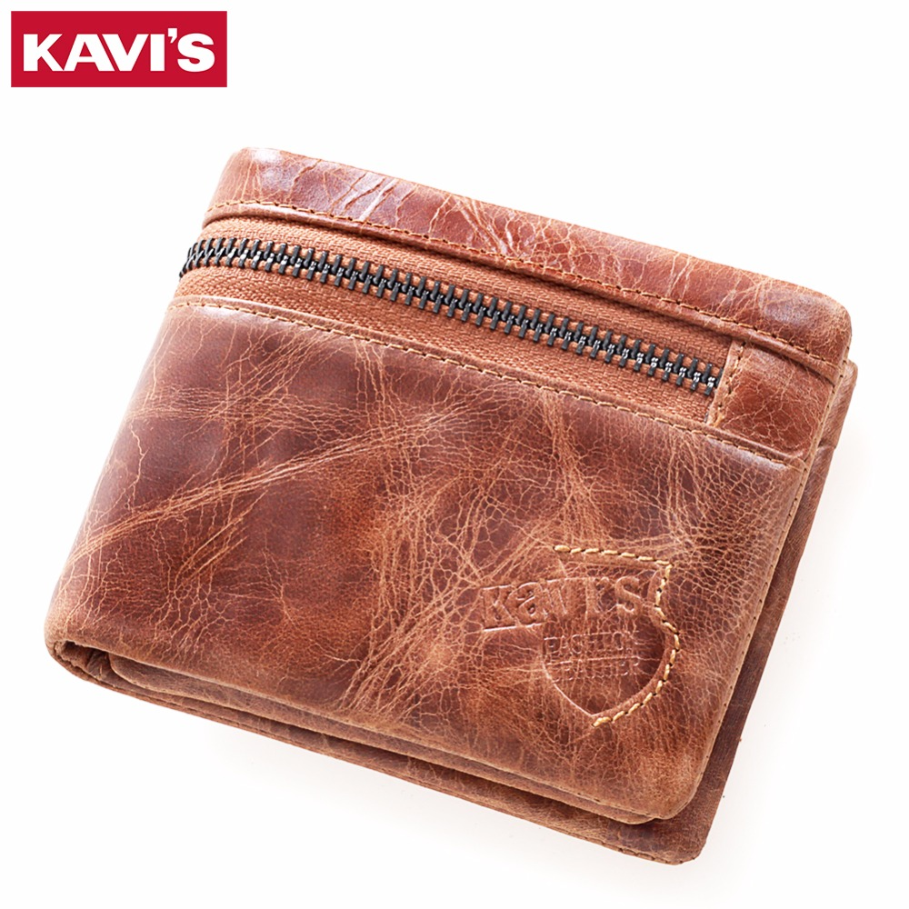 KAVIS 2017 New Brand Crazy Horse Cowhide Leather Men Wallets Vintage Purse with Card Holder Short Mini Male Wallet with Coin Bag