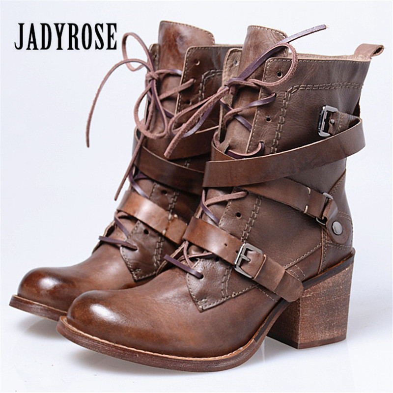 Jady Rose Vintage Genuine Leather Women Ankle Boots Strap Buckle High Heel Shoes Woman Autumn Winter Platform Martin Boots