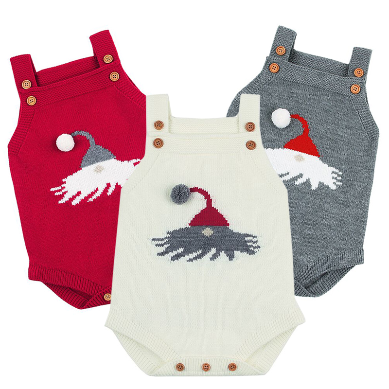 Baby Funny Bodysuits Christmas Newborn Clothes Santa Claus Knitted Body Autumn Sleeveless Toddler Girl Boys Clothes Baby Body