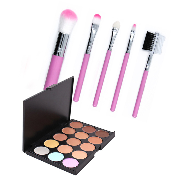New 15 Color Contour Face Cream Concealer Cosmetic Palette + 5PCS Pink Blsuher Powder Lip Makeup Brushes Set Pinceaux Maquillage