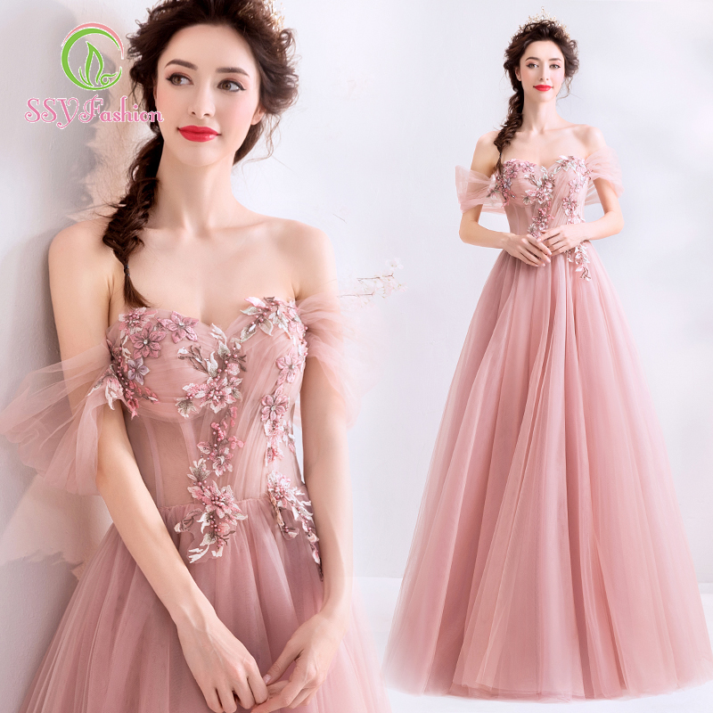 SSYfashion Boat Neck Lace Up Back Appliques Floor-Length Pink Evening Dresses Custom Party Prom Formal Gown Vestido De Noche