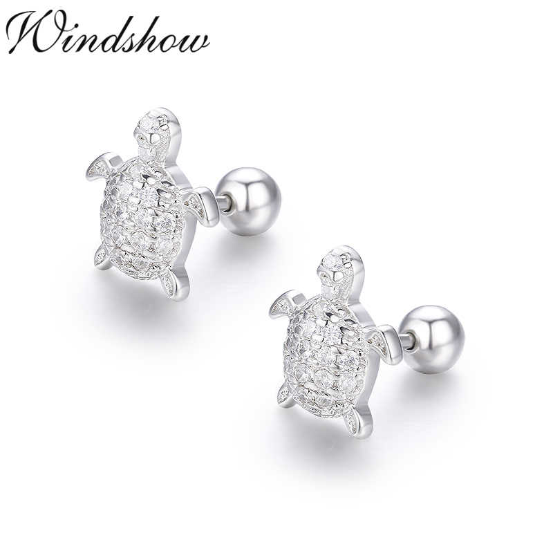 71edf8e56 Cute 925 Sterling Silver Cluster CZ Turtle Screw Back Stud Earrings For  Women Girls Kids Piercing