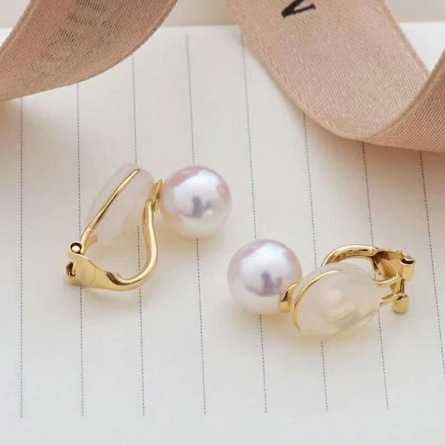 shilovem 18k yellow gold Natural  freshwater pearls stud Earrings fine Jewelry new round women trendy wedding  gift yz8.5-009zz 3