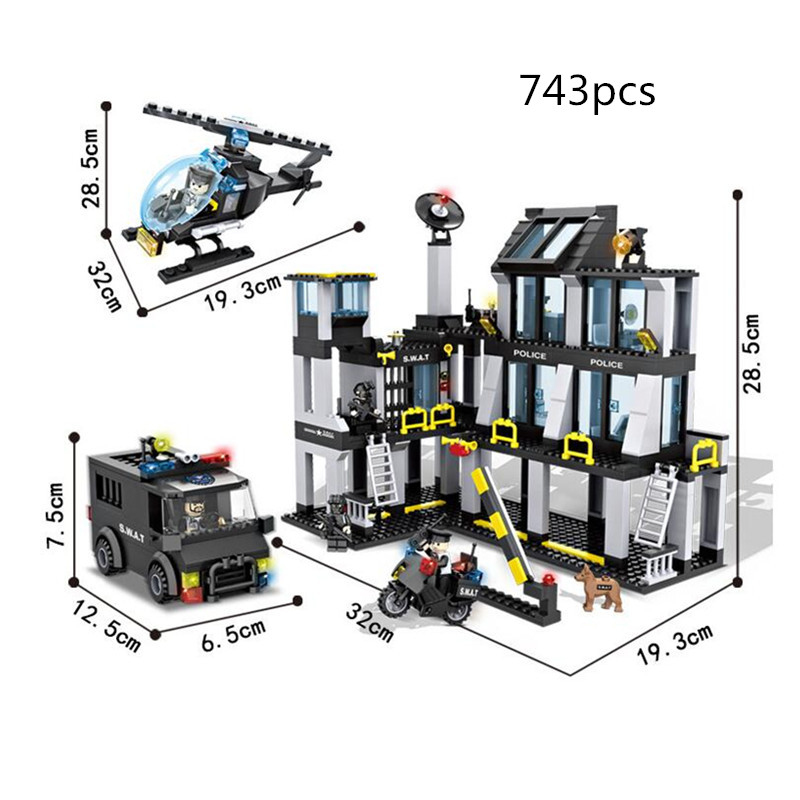 HSANHE 6512 Police station SWAT Hotel De Police doll Military Series 3D Model building blocks city Boy Toy hobbies Gift bohs building blocks city police station coastal guard swat truck motorcycle learning