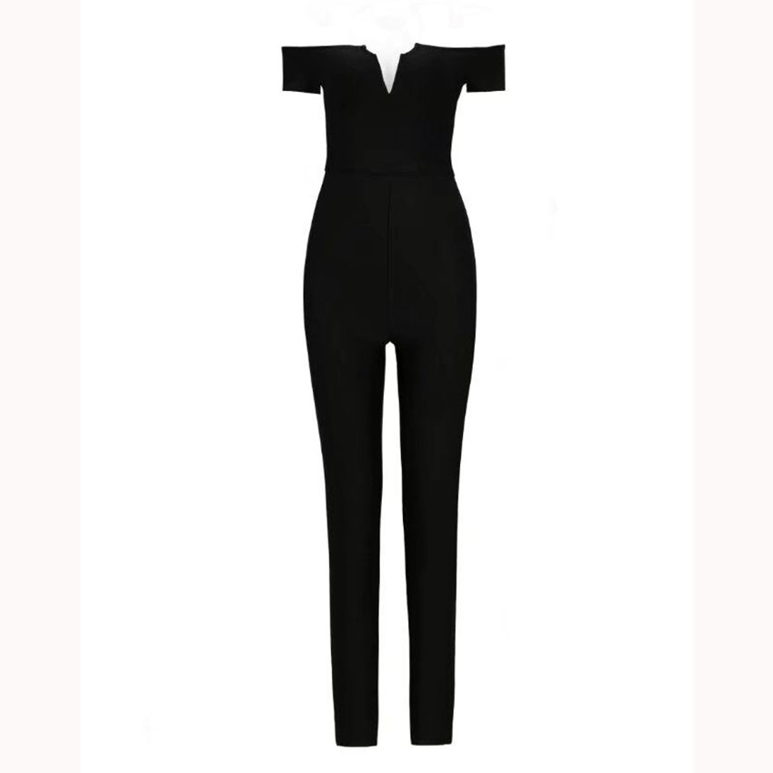 2019 New Women Sexy Slash Neck Bodycon Bandage Jumpsuits Sleeveless Off Shoulder Chic Celebrity Party Jumpsuit