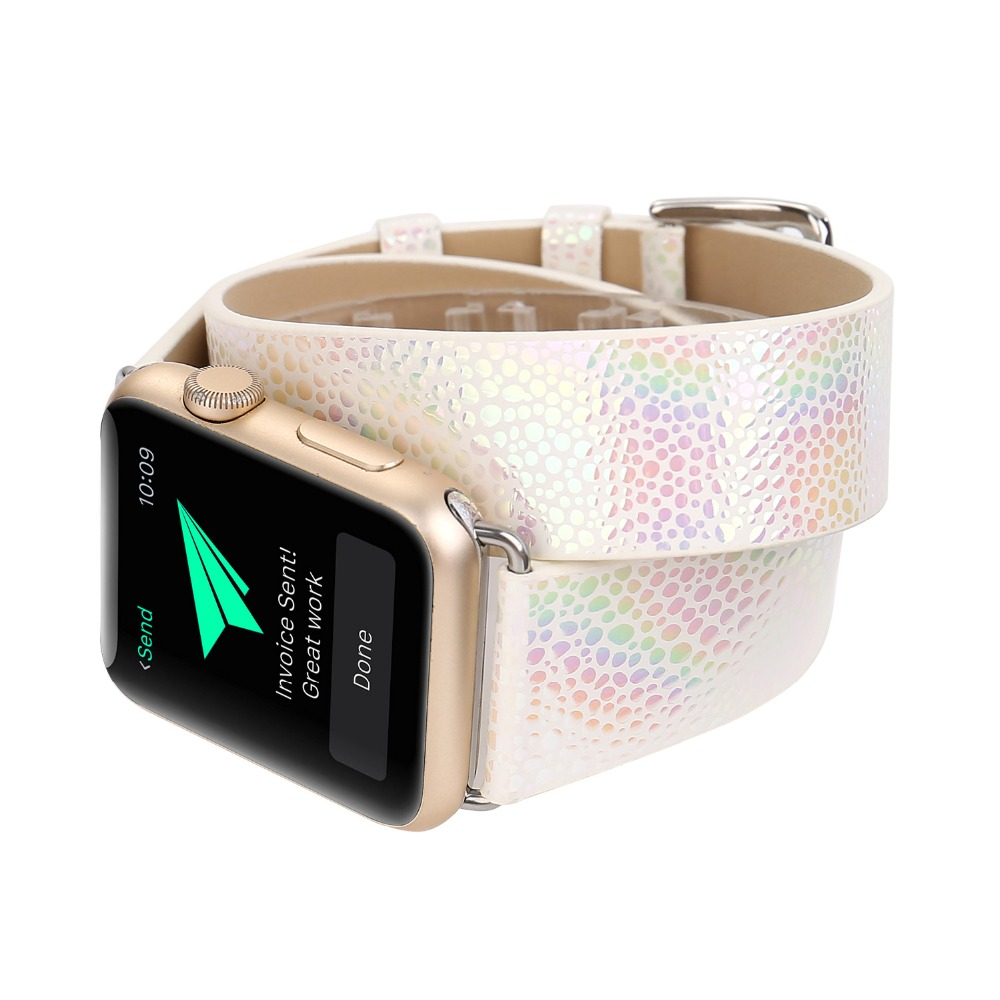 For Apple Watch 4 Wrist Bracelet Double Tour Glisten Original Watch Band Strap For Apple Series 1 2 3 Watchbands iWatch 38-42mm 38 42mm watch band for apple watch lovely wrist band real leather watch strap for apple series 1 2 3 iwatch watchbands bracelet