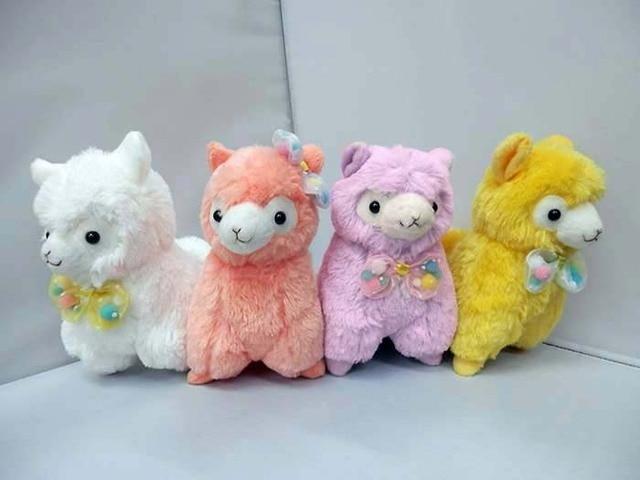 Anime Kawaii Japan Alpaca Llama 13 16cm Plush Toys With Bowknot