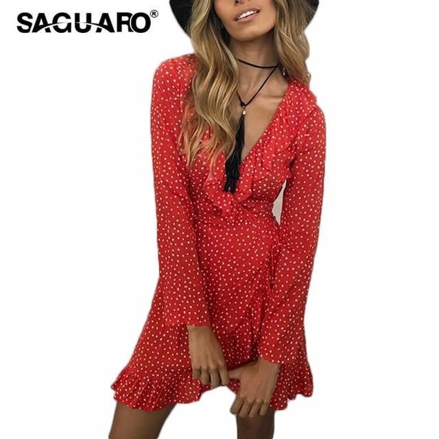 7386b361b8b59 US $15.9 |SAGUARO Summer Dress Female Irregular Ruffle Polkadot Print  Vintage Dress Women Sexy V neck Chiffon Beach Dresses robe femme-in Dresses  from ...