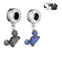 Fit Pandora Bracelets Diy Beads 925 Sterling Silver Mickey Minnie Animal Ear Hat Charm Beads for Jewelry Making PF136