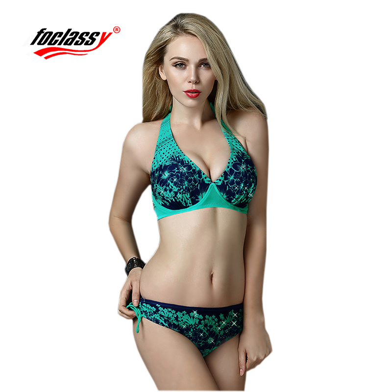 Foclassy Swimsuit Bikini 2017 push up women summer beachwear bikinis set Swimwear Womens swimming suit Bandeau Bathingsuit