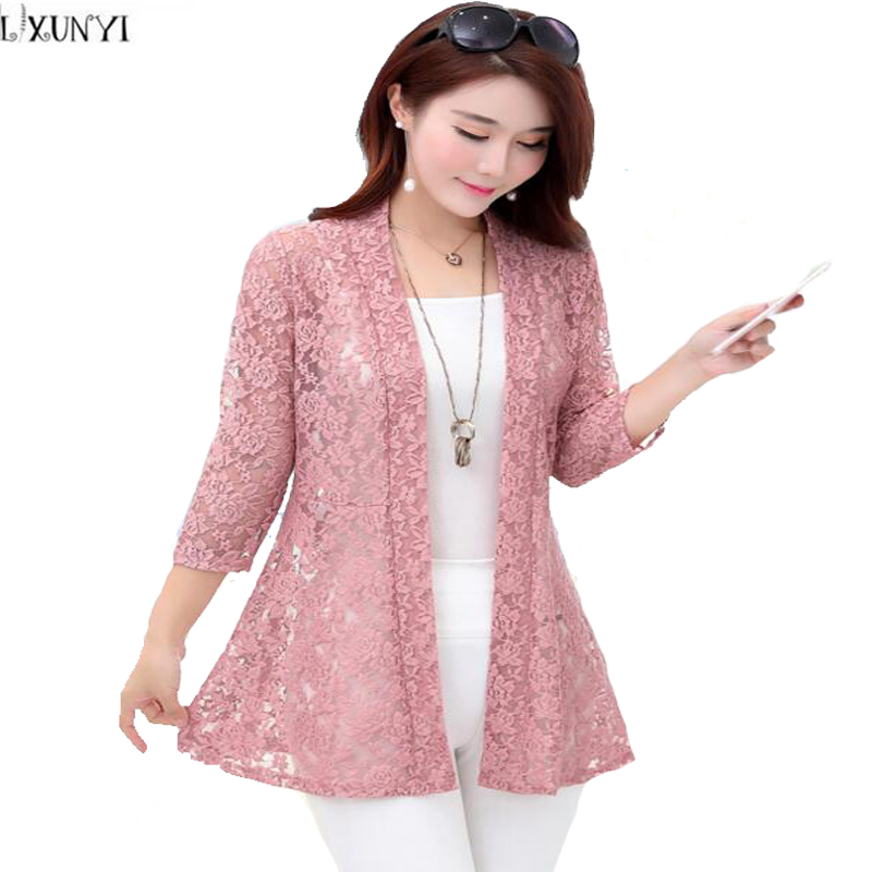 Lxunyi Summer Long Cardigan Women 2018 Thin Three Quarter