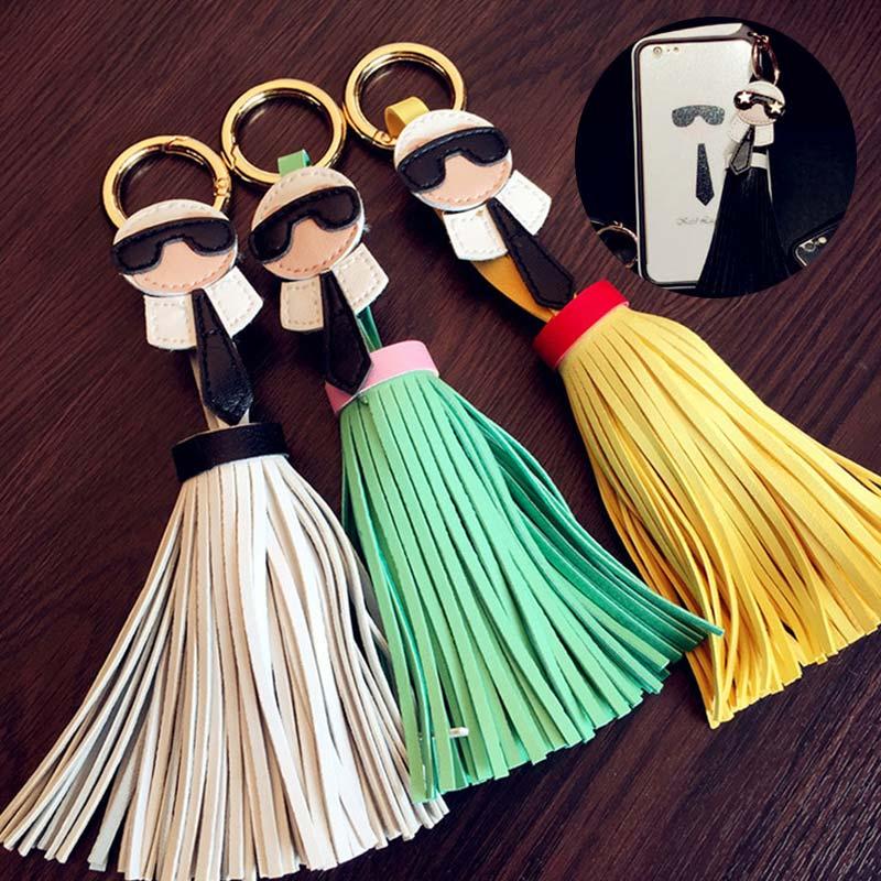 High Quality Ornaments Trinket For Bag Cute 1PC Popular Key Chain Car Keyring Korean Creative Tassels For Women Leather Hot Sale