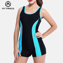 Attraco One Piece Women Sports Swimwear Swimsuit Colorblock Backless Bikini Beach Wear Bathing Suits