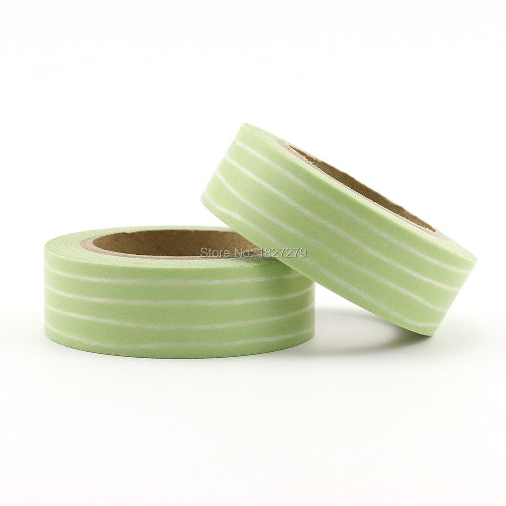 1pcs Green Stripes Washi Tape DIY Decorative Scrapbook Planner Masking Tape Adhesive Tape Label Sticker