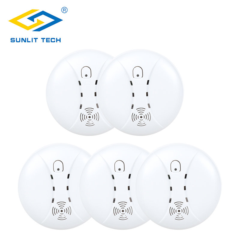 5pcs/Lot 433MHz Home Kitchen Security Wireless Smoke Detector Alarm for Burglar Intruder Fire Smoke Sensor Wifi GSM Alarm System