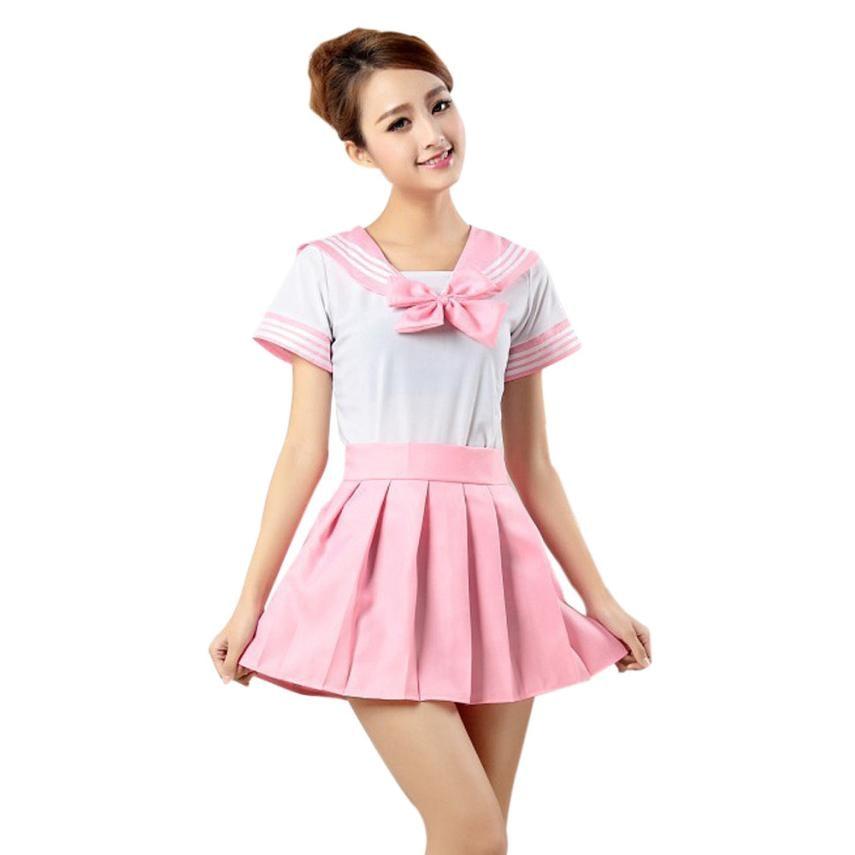 Lovely shirt dress set mujeres cosplay uniforme de estudiante mini plisado super
