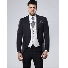 Custom Made Black Men's Suit Men's Suit Slim Fit Men's Suits Wedding Suits For Men 3 Piece (Jacket + pants + Waistcoat)