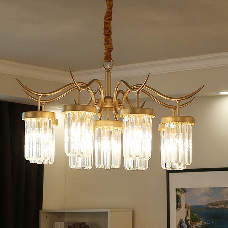 Américain pays cristal lustre simple salon salle à manger créatif étude chambre luxe maison jardin luminaire