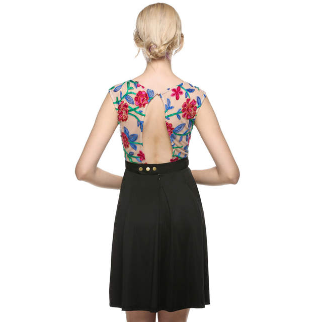 be20756bdd US $16.88 49% OFF|ACEVOG Women Vintage Style A line Sleeveless Embroidery  Casual Cocktail Party Dress Women Printing Dress Plus Size-in Dresses from  ...
