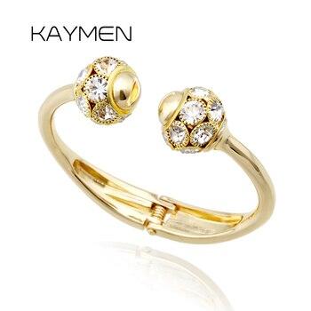 cd760a835e68 KAYMEN doble Rhinestones bolas uñas brazalete para las mujeres de oro o  plateado brazalete de cristal pulsera 2 colores