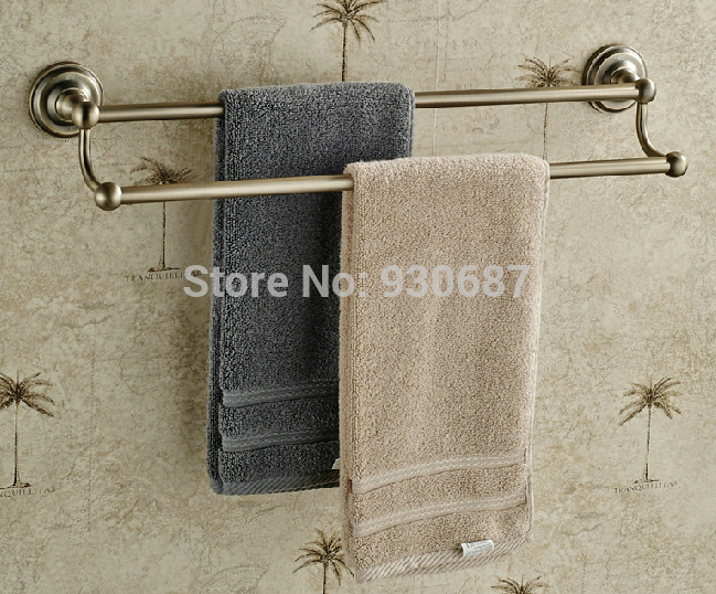 ФОТО Classical Antique Bronze Bath Dual Tiers Towel Bar Wall Mount Towel Hanger