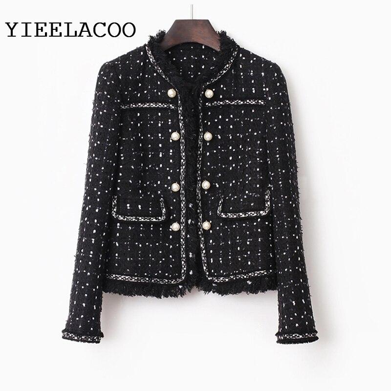 Veste en Tweed noir printemps/automne/hiver veste femme manteau classique dames sauvages dames fil lumineux tressé veste en tweed