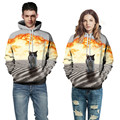 Fashion 3D Galaxy Meow star people cute lovely Sunset beach carefree cat mens boys funny Hoodies Sweatshirt Men/Women plus size