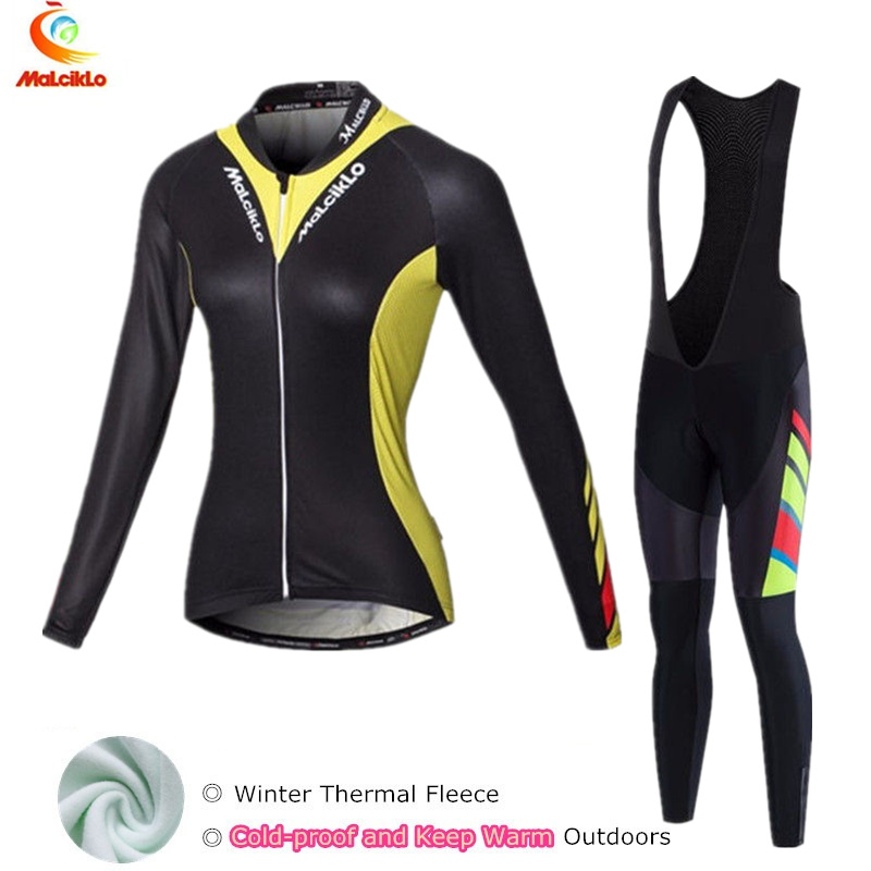 Black Women cycling clothing winter thermal bike jersey 2018 pro cycling jersey ropa ciclismo mujeres conjunto ciclismo suit
