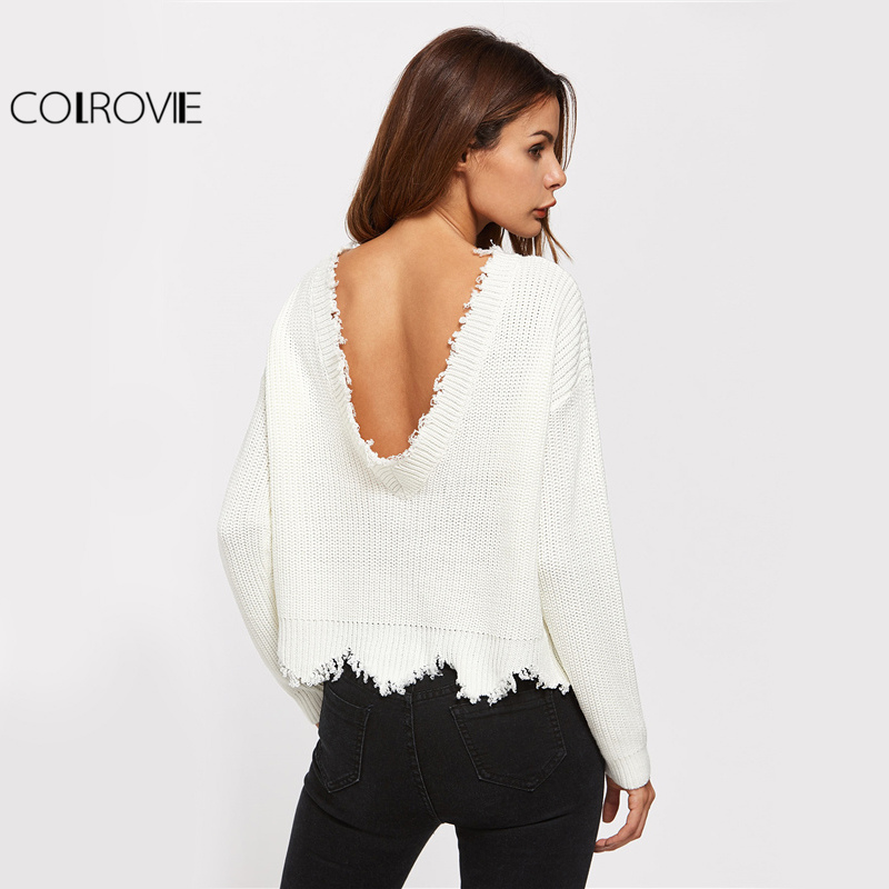 429e05ad7e Detail Feedback Questions about COLROVIE Scallop Edge Sweater White Pullover  Sexy Low Back Women Jumper Fall Fashion Spring Long Sleeve Loose Sweater on  ...