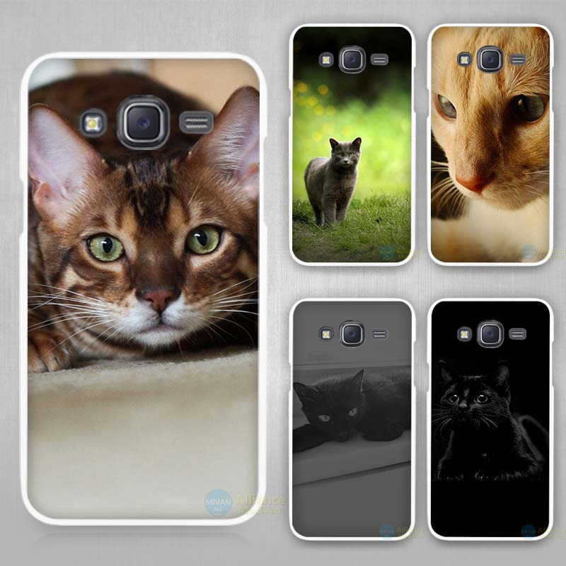 the cat Hard White Case Cover for Samsung Galaxy J1 J2 J3 J5 J7 C5 C7 C9 E5 E7 2016