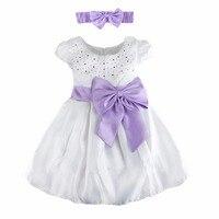 платье для девочки с поясом и оголовьем Платье младенческой принцессы платья для девочек платье летнее подарок на день рождения