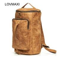 Lovmaxi повседневные модные кожаные Рюкзаки большой Ёмкость коричневый Рюкзаки Для мужчин Для женщин повседневные Сумки Дорожные сумки