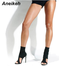 Aneikeh 2019 Sexy Sandals Woman Shoes Stretch Fabric High-he