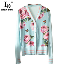 LD LINDA DELLA Elegant Floral Print Women Cardigan Sweater Knitted Coat Long Sleeve Casual V-Neck Women's Cardigans Tops white open front floral print cardigans