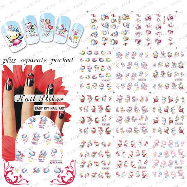 2015 Beautynailart 90 UNIDS/LOTE BLE1665-1675 Gatos Lindos de la historieta Diseño Decoraciones de Transferencia de Agua Nail Art Stickers Decals
