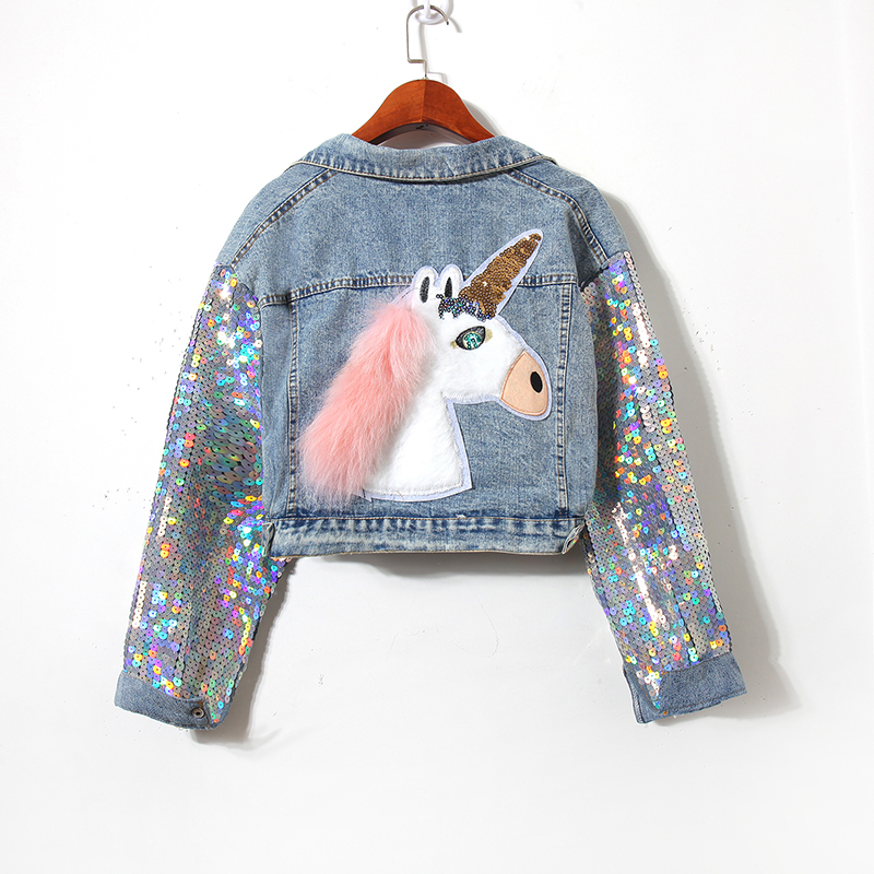 Veste femme en Denim pailleté Patch cheval Design Vintage veste de cow-boy de base manteau à manches longues femme vestes en Denim Vestidos
