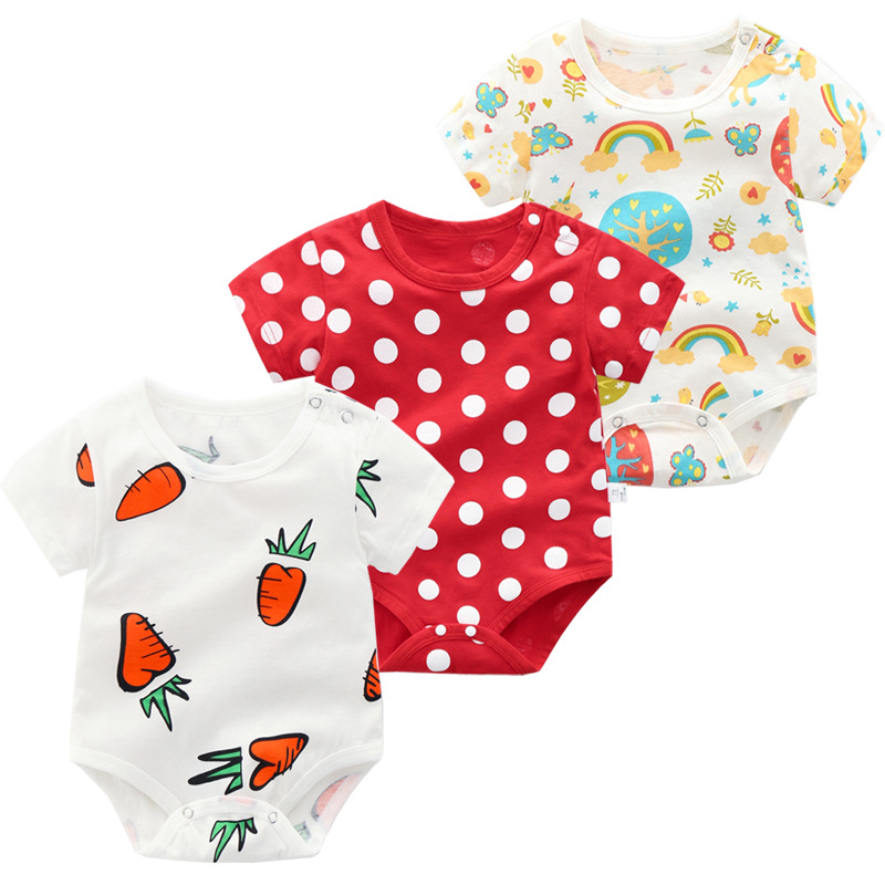Cartoon Pattern <font><b>Baby</b></font> Boy Summer Casual Outfts <font><b>Baby</b></font> Girl Lovely Cotton Bodysuit image