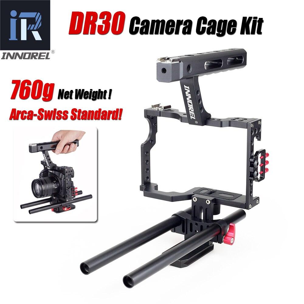 INNOREL DR30 Gaiola Câmera Kit 15mm Haste Rig Estabilizador Pega Para Sony A7R A7S A7II A6300 A6000 Panasonic GH4 GH3 Canon M3 M5