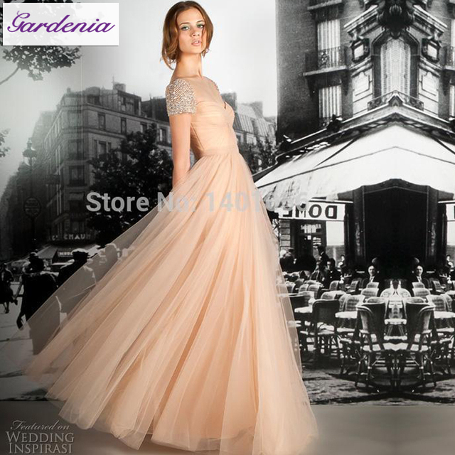 Us 117 0 Twist Front Gown For Wedding Rich Pleat Bodice Peach Bridal Gowns With Cap Sleeves Affordable Beach Wedding Gowns Plain In Wedding Dresses