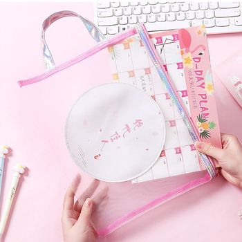1pcs Pink Cute Zipper Paper Pig Grid File Bag Girl Heart Mesh Portable A4 Products Bag Stationery Office Supplies 1