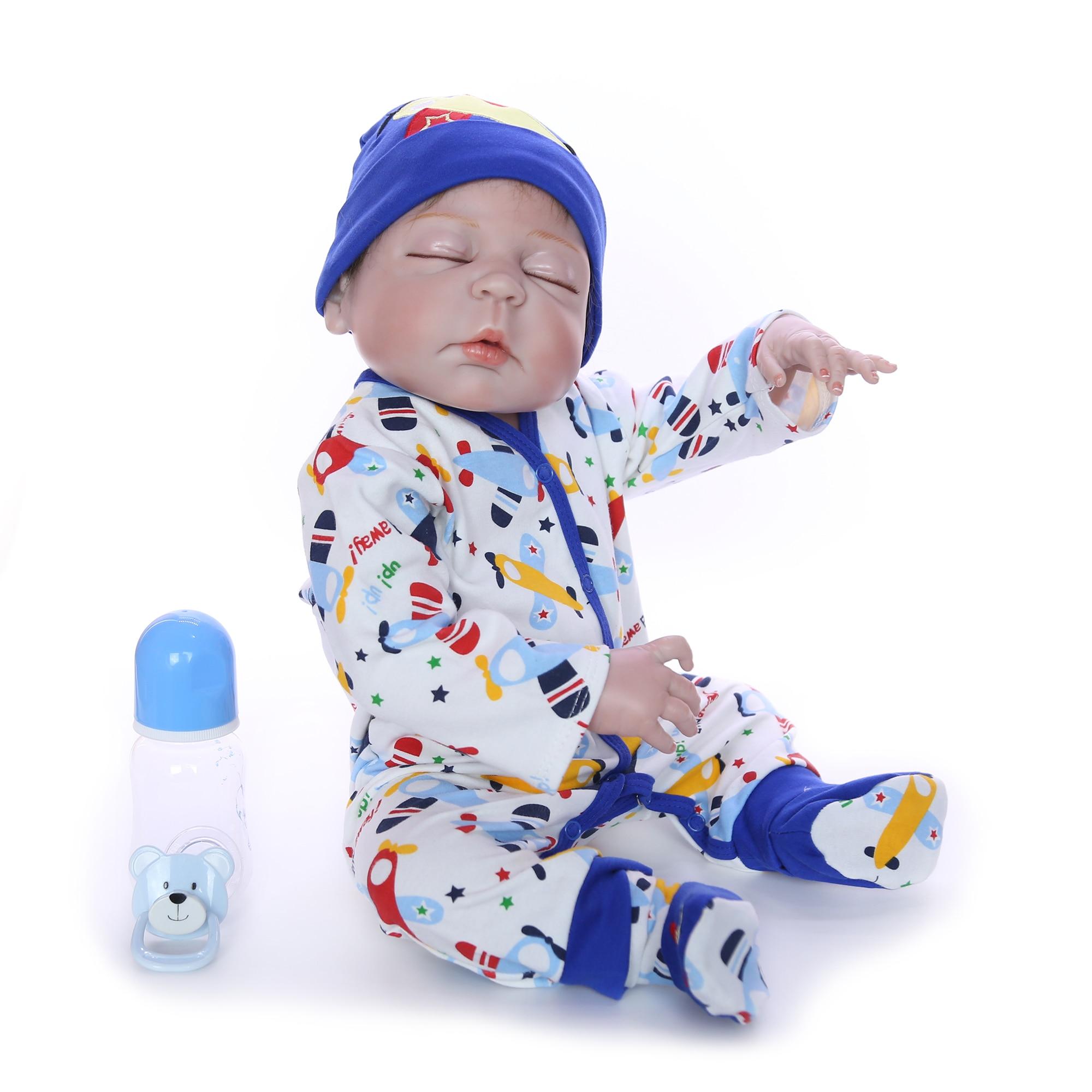 Colección limitada de 23 ''57 cm muñecas Reborn vinilo de silicona completo niño durmiendo muñeca juguete para Cumpleaños de Niños regalo-in Muñecas from Juguetes y pasatiempos    2