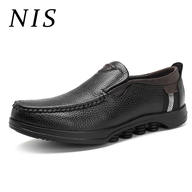 NIS Moccasins Loafers Flat Shoes Men Cow Leather Men Shoes Casual Slip On Large Size Flats Summer Soft Sole Flats For Driving nis breathable mesh flat men shoes casual summer slip on shoes men patchwork stitching loafers sewing soft sole pu leather flats