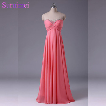 Watermelon Evening Gown Chiffon Floor Length Beaded Long Evening Dresses Women Coral Color Free Shipping