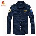 2017 Camisa de Los Hombres Aeronautica Militare Air Force One Logo Bordado Camisa de Manga Larga Camisa Piloto Azul Oscuro Algodón Chemise Homme
