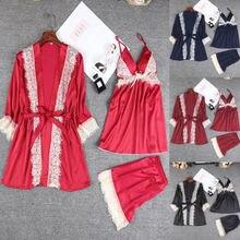 3PCS Women Solid Color Silk Satin Pajamas Set Pyjama Bnadage Sleepwear Robe Gown Sets Lady Nightwear