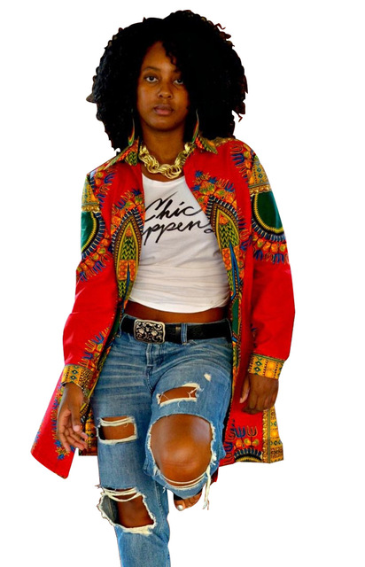 2016 Fall Retro Jacket African Print Long Sleeve Dashiki Women Basic Coats Ethnic Fashion Autumn Outwear Tops Manteaux Femme