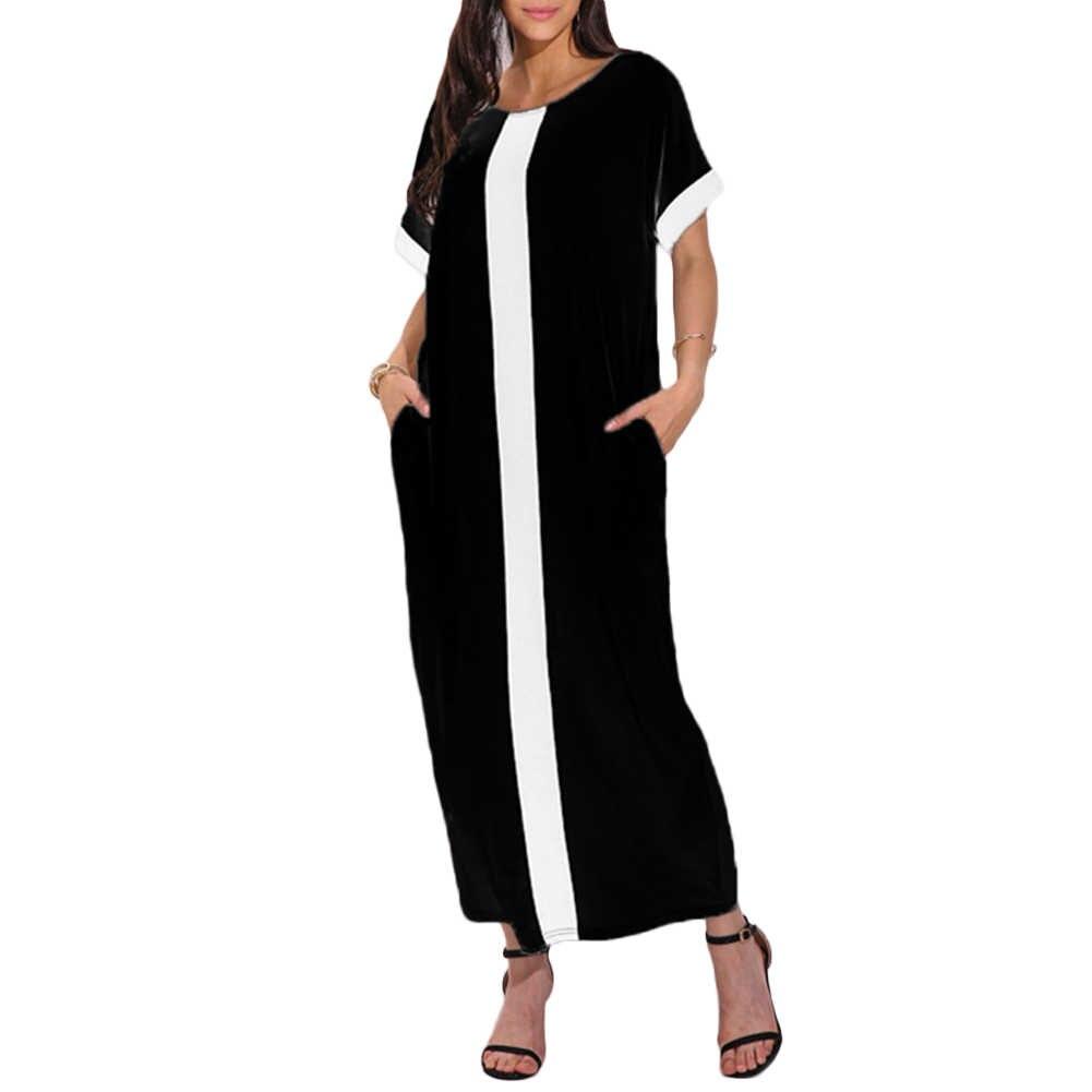 Женские Большие размеры 3XL 4XL 5XL свободные платья контрастная панель рубашка платье с круглым вырезом короткий рукав повседневные свободные макси длинное платье Лето 2019