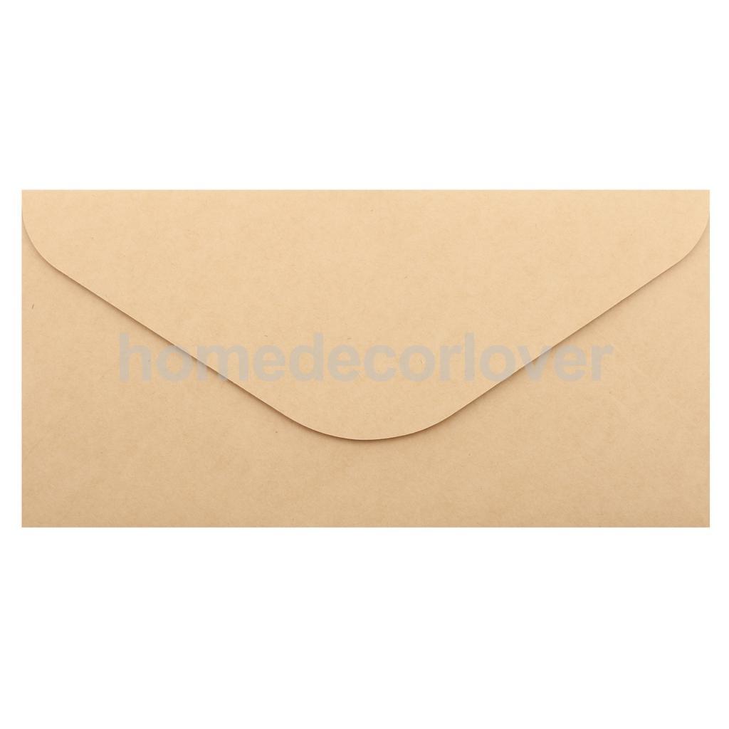 50x Blank Retro Kraft Paper Envelopes For Wedding Party Invites